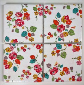 4 Ceramic Coasters in Cath Kidston Woodland Rose in White